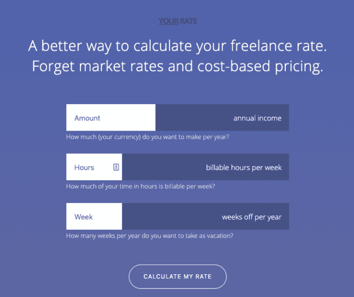 Calculate freelance rates