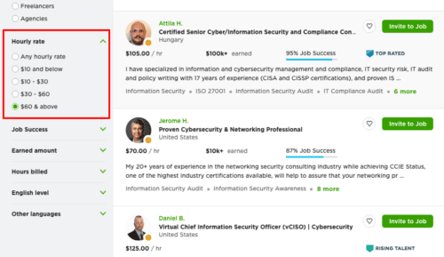 Upwork search results